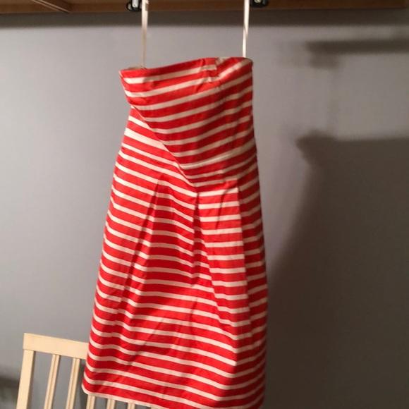 GAP Dresses & Skirts - Gap coral striped sateen strapless dress 8